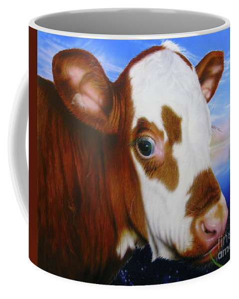 Cow Coffee Mug featuring the painting Mona by Jurek Zamoyski
