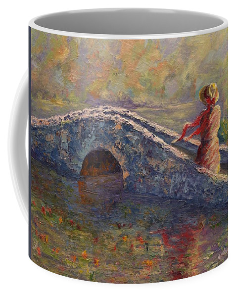 Monet Lily Pad Coffee Mug featuring the painting Monet's Lady by Linda Riesenberg Fisler