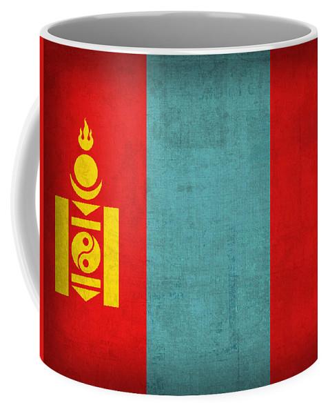 Mongolia Flag Vintage Distressed Finish Coffee Mug featuring the mixed media Mongolia Flag Vintage Distressed Finish by Design Turnpike