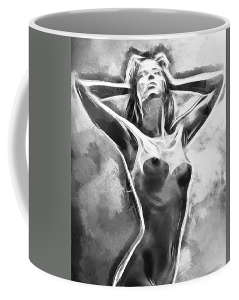 Female Girl Woman Nude Naked Erotic Monochrome Monochromatic Expressionism Impressionism Sensual Black White Sexy Boobs Tits Curves Abstract Painting Coffee Mug featuring the painting Monochromatic by Steve K