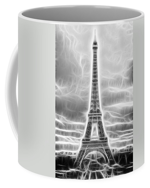 Fractal Coffee Mug featuring the photograph Monochrome Eiffel Tower Fractal by Pati Photography