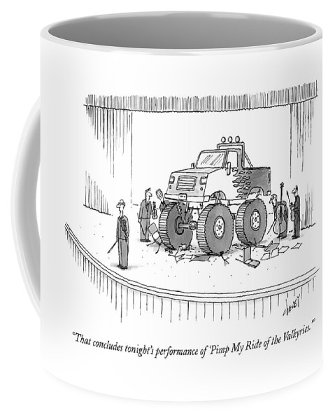 Autos Problems Entertainment Music Tch Tom Cheney Coffee Mug featuring the drawing Monster-truck Crushes Members Of String Octet by Tom Cheney