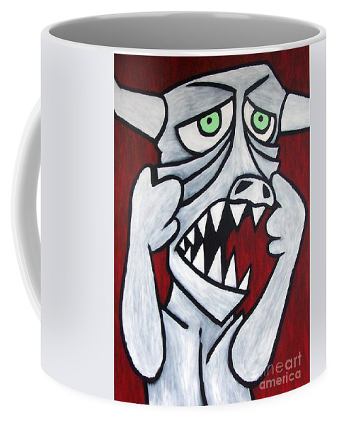 Monster Coffee Mug featuring the painting Monsters Afaid Of Monsters by Thomas Valentine