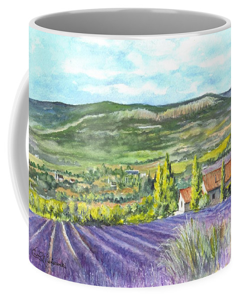 Watercolor Coffee Mug featuring the painting Montagne De Lure In Provence France by Carol Wisniewski