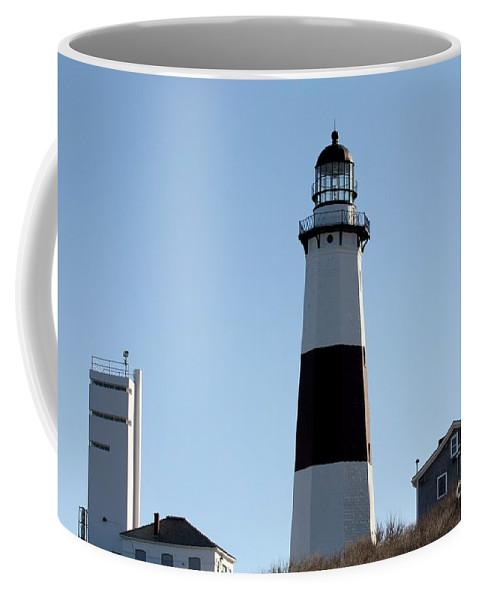 Montauk Lighthouse As Seen From The Beach Coffee Mug featuring the photograph Montauk Lighthouse As Seen From The Beach by John Telfer