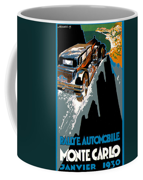 Vintage Automobile Ads And Posters Coffee Mug featuring the photograph Monte Carlo Rallye Automobile by Vintage Automobile Ads and Posters