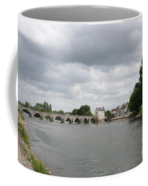 River Coffee Mug featuring the photograph Montrichard Bridge Over Cher River by Christiane Schulze Art And Photography