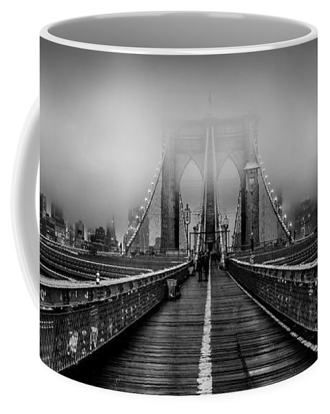 Brooklyn Bridge Coffee Mug featuring the photograph November Rain by Az Jackson