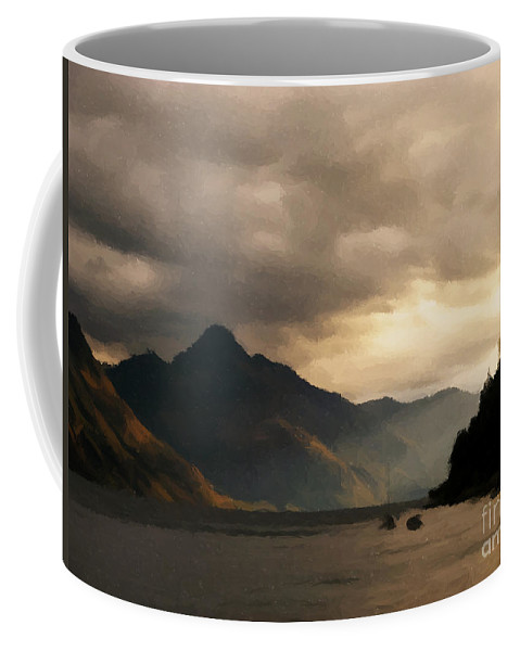 Lake Coffee Mug featuring the painting Moody Lake by Pixel Chimp