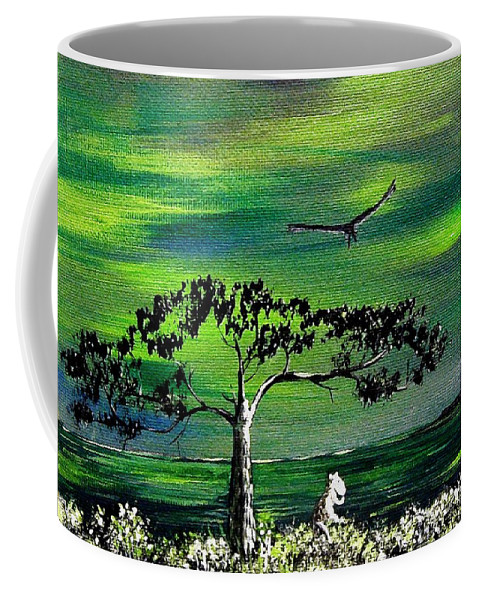 Decotarive Coffee Mug featuring the painting Moomintroll And Lighthouse by Anastasiya Malakhova
