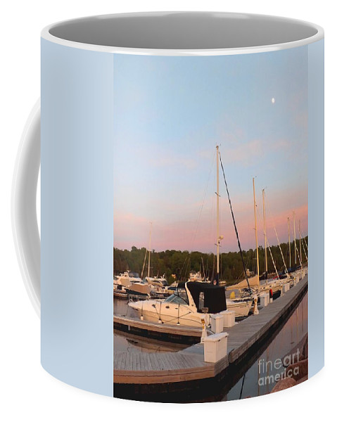 Deb Schense Coffee Mug featuring the photograph Moon Over Egg Harbor Marina by Deb Schense