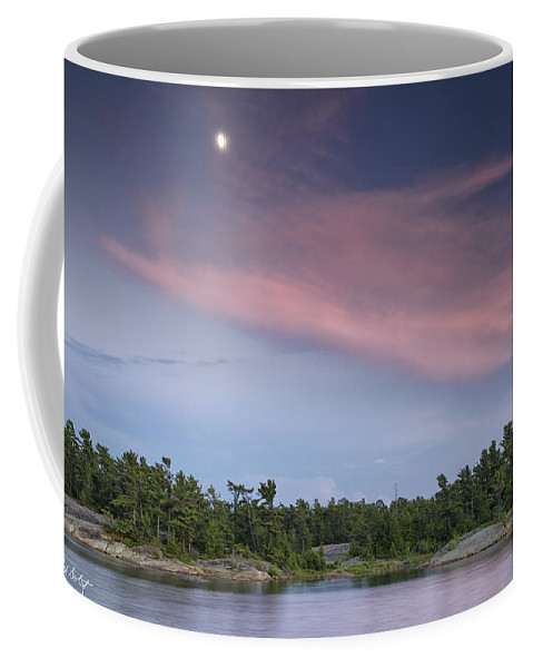 Pointe-au-baril Coffee Mug featuring the photograph Moon Over The Bay by Phill Doherty