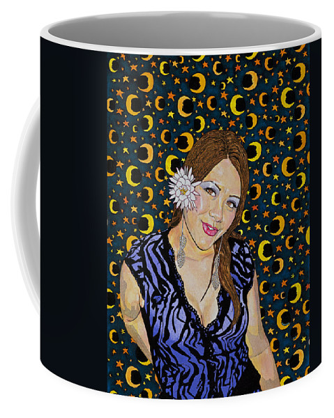 Moon Coffee Mug featuring the painting Moon Glow At Midnight by Alan Morrison