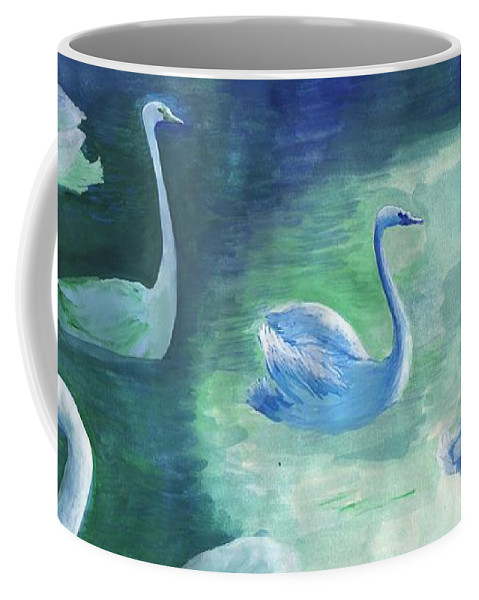 Swan Coffee Mug featuring the painting Moon Swans by Sushila Burgess