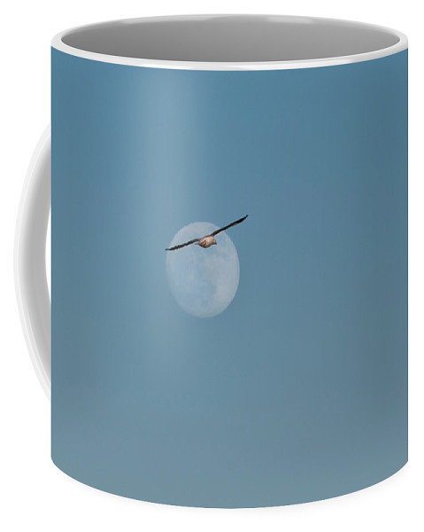Snow Goose Coffee Mug featuring the photograph Moon With Snow Goose 1 by Corinna Stoeffl