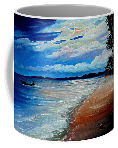Moonlight Coffee Mug featuring the painting Moonlight In Tobago by Karin Dawn Kelshall- Best