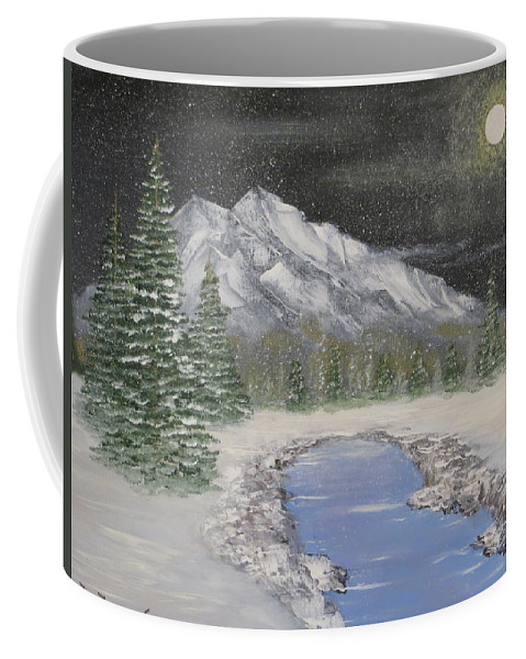 Mountain Coffee Mug featuring the painting Moonlight Mountain by Tim Townsend