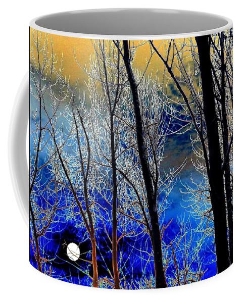 Full Moon Coffee Mug featuring the digital art Moonlit Frosty Limbs by Will Borden