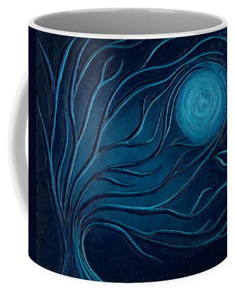 Art Coffee Mug featuring the painting Moonlit Tree by Laura Teti