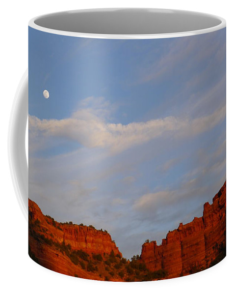 Moon Coffee Mug featuring the photograph Moonrise In Sedona by Denise Mazzocco