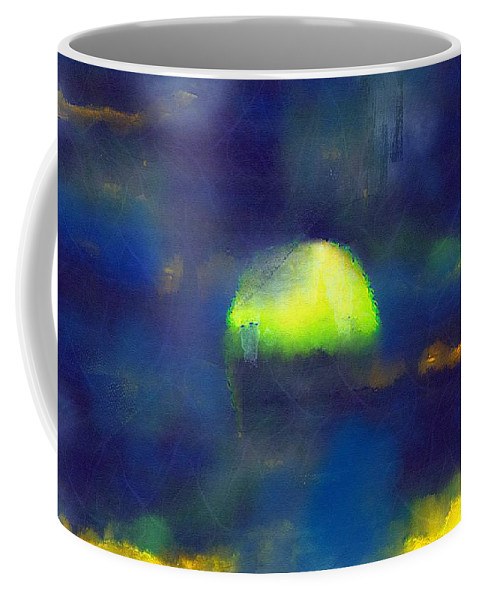 Sea Coffee Mug featuring the painting Moonrise Primitive by RC DeWinter