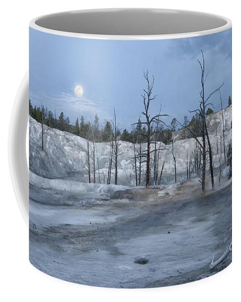 Yellowstone Coffee Mug featuring the photograph Moonset At Mammoth Terrace-yellowstone by Sandra Bronstein