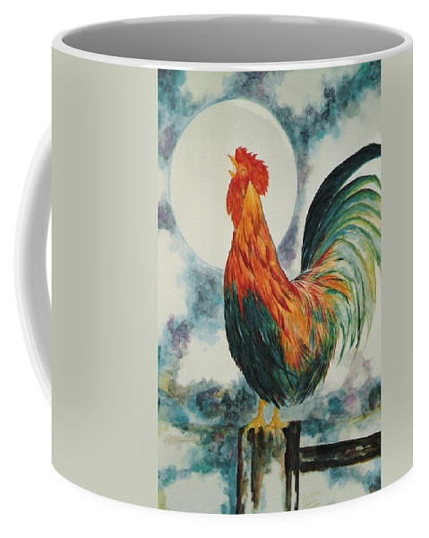 Rooster Coffee Mug featuring the painting Morning Call by Lord Frederick Lyle Morris