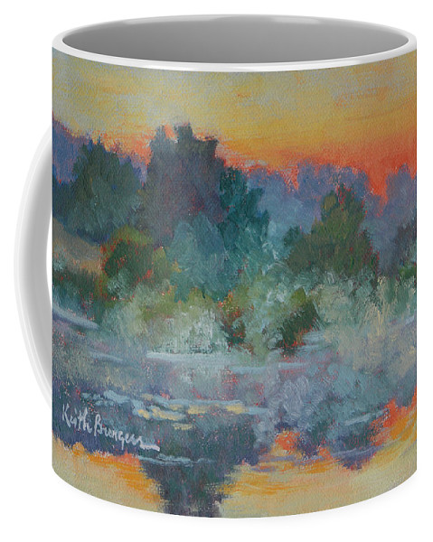 Impressionism Coffee Mug featuring the painting Morning Fog by Keith Burgess
