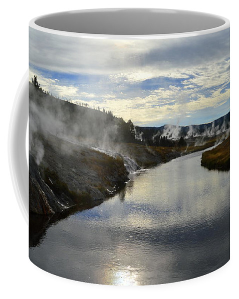 Yellowstone National Park Coffee Mug featuring the photograph Morning In Upper Geyser Basin In Yellowstone National Park by Catherine Sherman