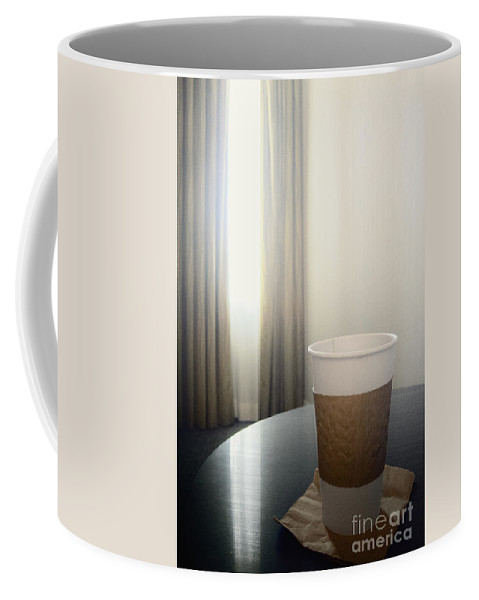 Coffee; Cup; Paper; To Go; Travel; Traveling; Table; Napkin; Hot; Window; Drapes; Curtains; Light; Lightness; Shear; Room; Inside; Interior; Indoors; Carpet; Wall; Hotel; Business; Vacation; Reflection; Enlighten; Morning; Generic; Empty; Still Life; Joe; Drink; Liquid Coffee Mug featuring the photograph Morning Joe by Margie Hurwich