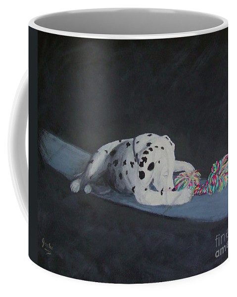 Dalmatain Coffee Mug featuring the painting Morning Magic by Jacki McGovern