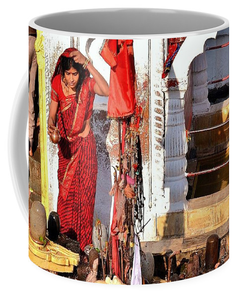 Narmada Coffee Mug featuring the photograph Morning Offerings - Narmada River Source - Amarkantak India by Kim Bemis