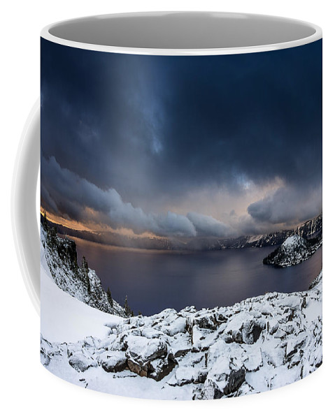 Cascades Coffee Mug featuring the photograph Morning Storm At Crater Lake by Greg Nyquist