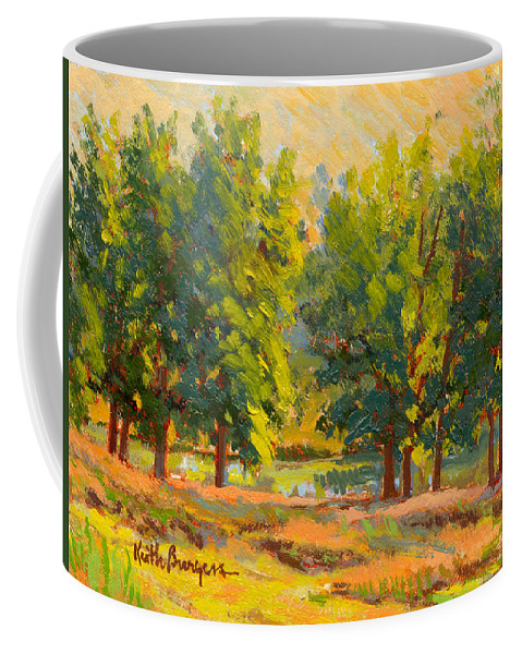 Impressionism Coffee Mug featuring the painting Morning Through The Trees by Keith Burgess