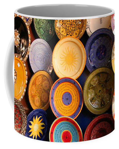 Morocco Coffee Mug featuring the photograph Moroccan Pottery On Display For Sale by Ralph A Ledergerber-Photography