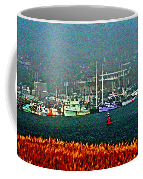 Morro Bay Coffee Mug featuring the digital art Morro Bay At A Distance by Joseph Coulombe