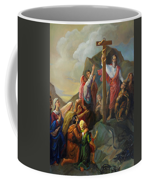 Moses Coffee Mug featuring the painting Moses And The Brazen Serpent - Biblical Stories by Svitozar Nenyuk
