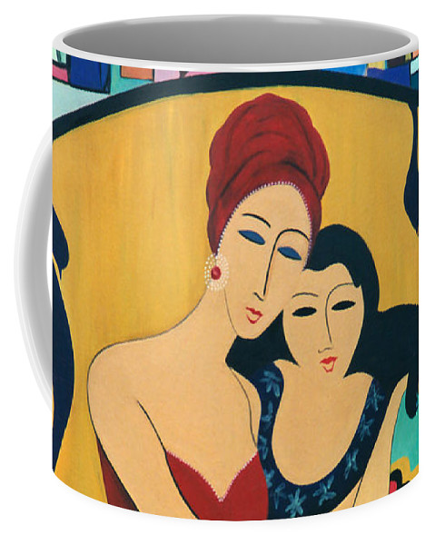 #mother And Child Coffee Mug featuring the painting Mother And Child by Jacquelinemari