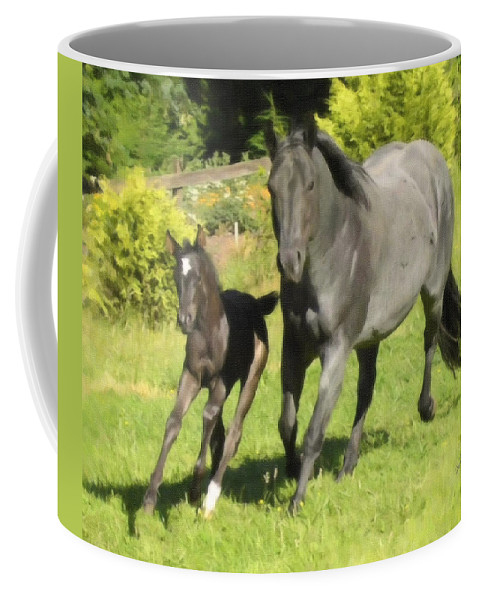 Rodeo Coffee Mug featuring the painting Mother And Daughter by Dean Wittle