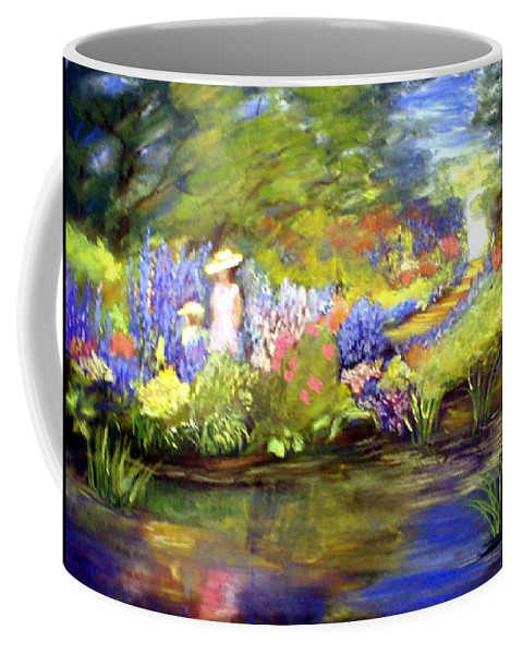 Flower Garden Coffee Mug featuring the painting Mother And Daughter by Gail Kirtz