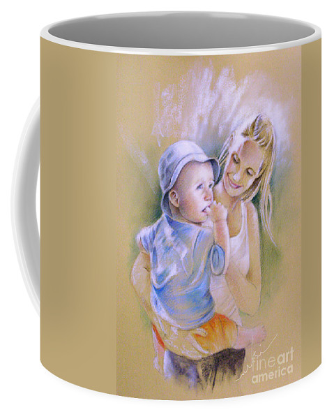 Portrait Coffee Mug featuring the painting Mother And Son by Miki De Goodaboom