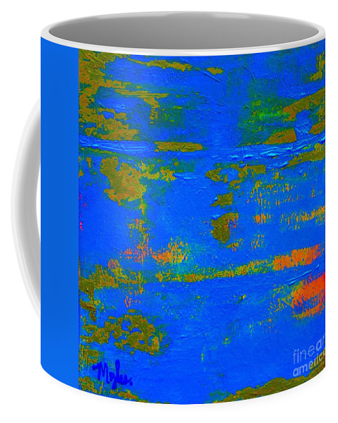 Blue Planet Coffee Mug featuring the painting Mother Earth 1 Abstract by Saundra Myles
