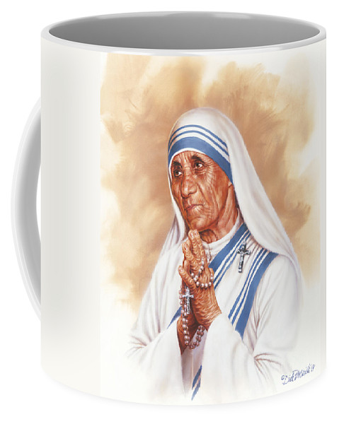 Portrait Coffee Mug featuring the painting Mother Teresa by Dick Bobnick