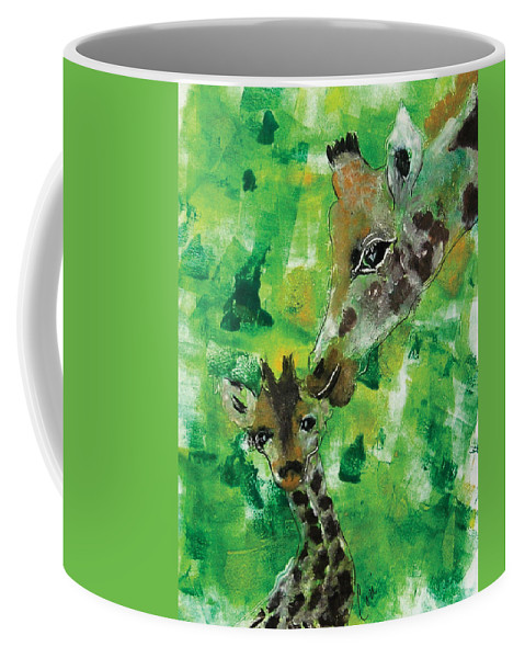 Giraffes Coffee Mug featuring the mixed media Motherly Love by Cori Solomon