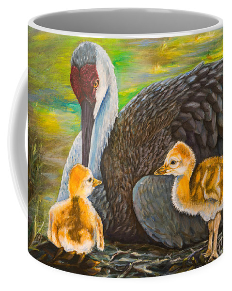 Sandhill Crane Coffee Mug featuring the painting Mother's Love by Zina Stromberg