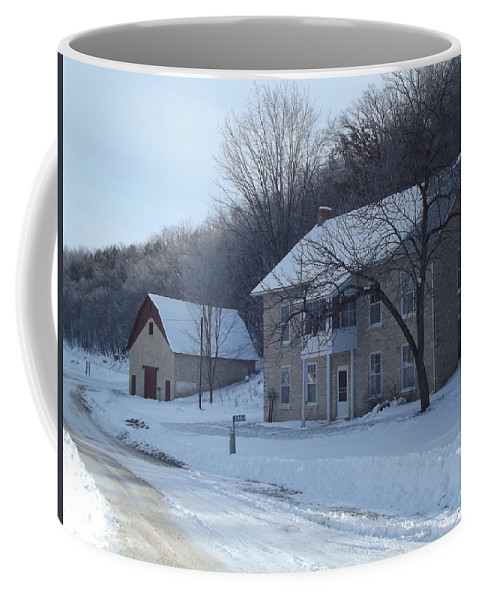 Elkader Iowa Coffee Mug featuring the photograph Motor Mill Inn And Livery by Bonfire Photography