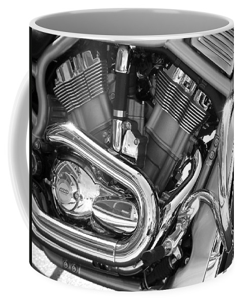 Motorcycles Coffee Mug featuring the photograph Motorcycle Close-up Bw 1 by Anita Burgermeister