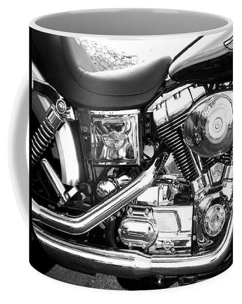 Motorcycles Coffee Mug featuring the photograph Motorcycle Close-up Bw 3 by Anita Burgermeister
