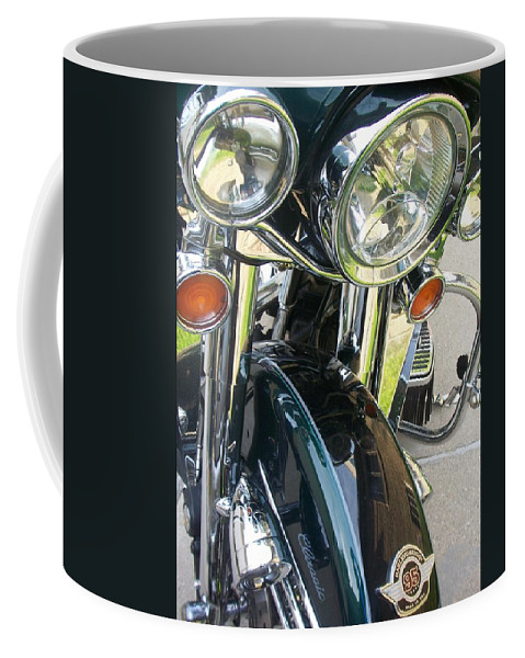 Motorcycles Coffee Mug featuring the photograph Motorcyle Classic Headlight by Anita Burgermeister