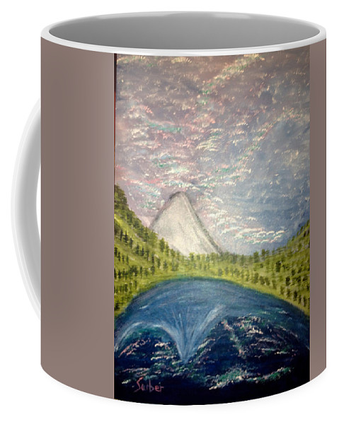 Mt. Hood Coffee Mug featuring the painting Mount Hood Night Sky by Suzanne Surber